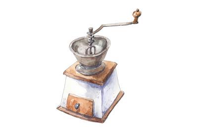 Manual coffee grinder - watercolor illustration
