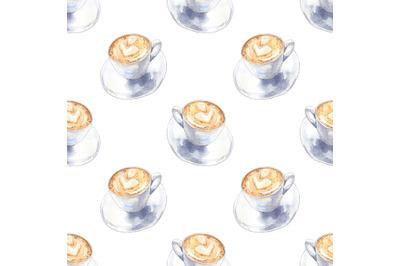 Coffee cappuccino watercolor seamless pattern