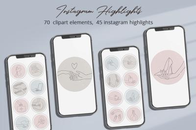 Instagram Highlights Illustration Set