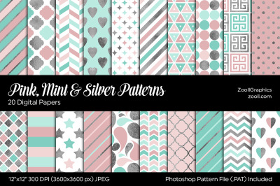 Pink, Mint And Silver Digital Papers