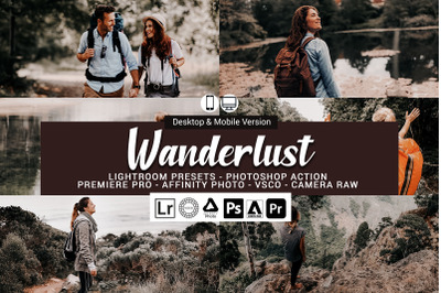20 Wanderlust Presets,Photoshop actions,LUTS,VSCO