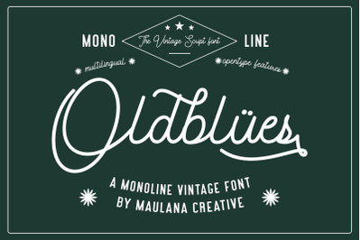 Oldblues Monoline Script Vintage Font