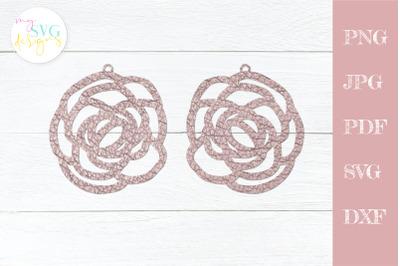 Leather earrings svg, Flower earring svg, Earring template svg