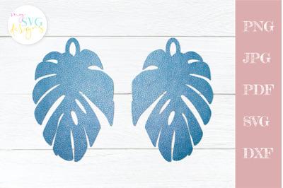 Leather earrings svg, Earring template svg, Leaf earring svg