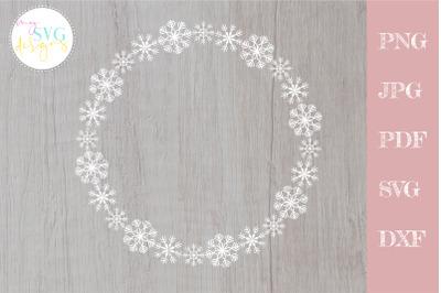 Snowflake wreath svg, Snowflake frame svg, Christmas svg