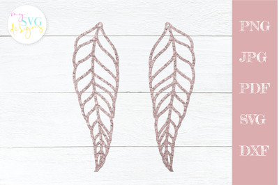 Leather earrings svg, Feather earring svg, Earring template svg
