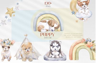 Puppy Dream Baby Watercolor Clipart