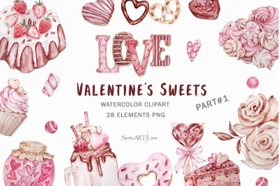 Valentine's day Watercolor Clipart, Candy Hearts