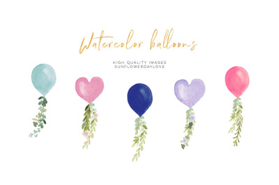Heart Balloon Watercolor clipart, Balloon Valetine Party