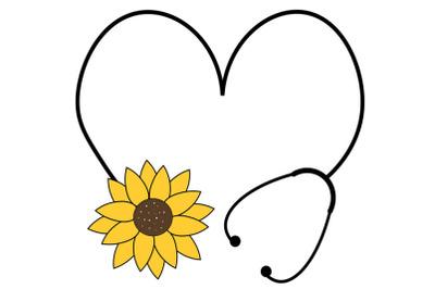 Floral Stethoscope SVG, sunflower svg, Flower Heart Stethoscope Svg, N