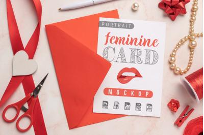 Feminine Card and Envelope Mockup