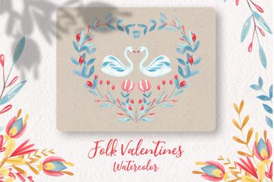 Folk Art Valentines Watercolor