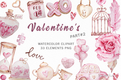 Valentine's day Watercolor Clipart, Pink Valentines