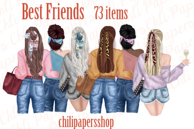 Best Friends Clipart,Fashion girls,Portret creator,BFF Mug
