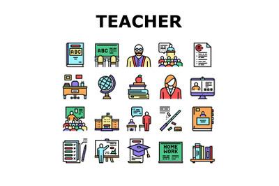 Teacher Education Collection Icons Set Vector