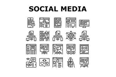 Internet Social Media Collection Icons Set Vector