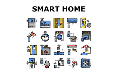 Smart Home Equipment Collection Icons Set Vector