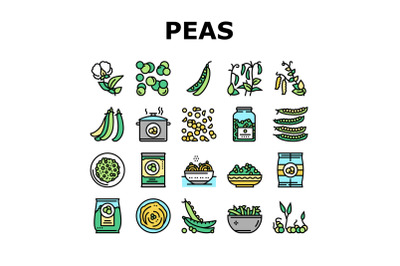 Peas Beans Vegetable Collection Icons Set Vector