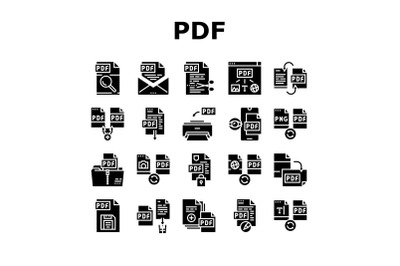 Pdf Electronic File Collection Icons Set Vector