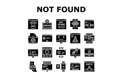 Not Found Web Page Collection Icons Set Vector