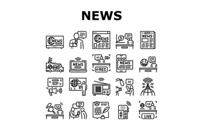 News Broadcasting Collection Icons Set Vector