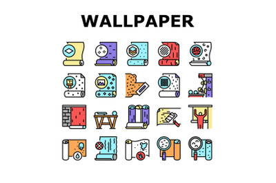 Wallpaper Interior Collection Icons Set Vector