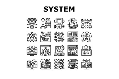 System Work Process Collection Icons Set Vector