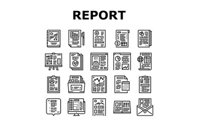 Reports Documentation Collection Icons Set Vector