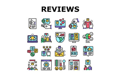 Reviews Of Customer Collection Icons Set Vector
