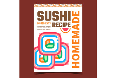 Sushi Homemade Recipe Promotional Banner Vector