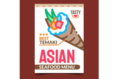 Asian Seafood Menu Creative Promo Poster Vector