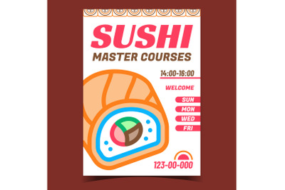 Sushi Master Courses Promotional Poster Vector