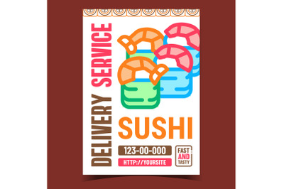 Sushi Delivery Service Promotion Banner Vector