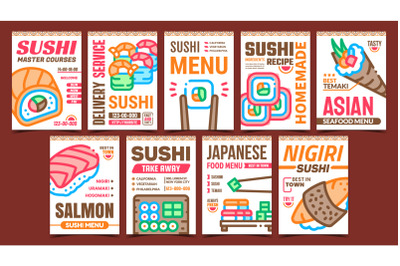 Sushi Roll Food Promotional Posters Set Vector