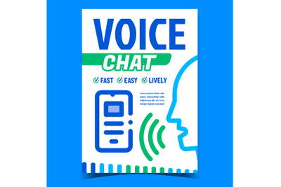 Voice Chat Creative Promotional Poster Vector