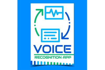 Voice Recognition App Promotion Poster Vector