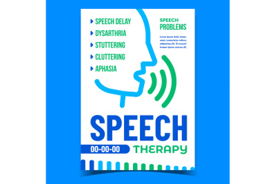 Speech Therapy And Problem Promo Poster Vector