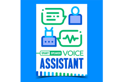 Voice Assistant Creative Promotion Banner Vector