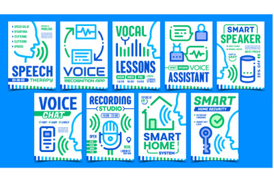 Voice Command Control Promo Posters Set Vector