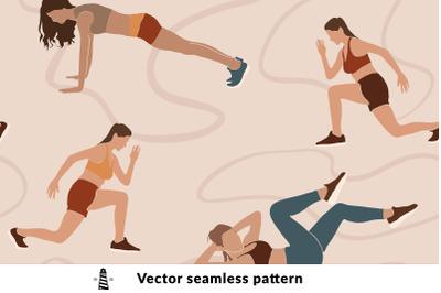 Fitness girl seamless pattern