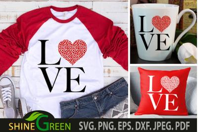 Valentines SVG Love Heart Cheetah Print SVG Cut File