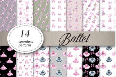 Ballet slippers, tutu dress Seamless patterns