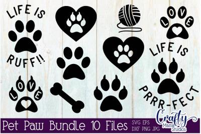 Pet Paw Bundle Svg, Dog Paw Bundle, Cat Svg