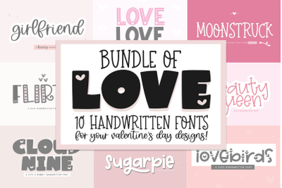 Font Bundle of Love - Valentine's Day Fonts