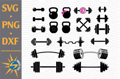 Barbell Silhouette SVG, PNG, DXF Digital Files Include