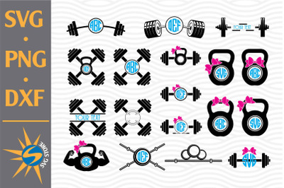 Barbell Monogram SVG, PNG, DXF Digital Files Include