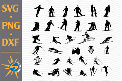 Skiing Silhouette SVG, PNG, DXF Digital Files Include