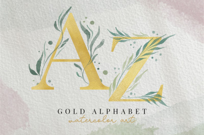 SET - Gold alphabet with leaf watercolor letters A to Z