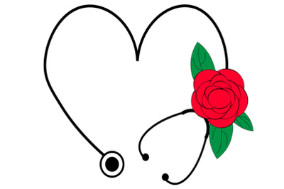 Floral Stethoscope SVG, Flower Heart Stethoscope Svg, Nurse Life svg,