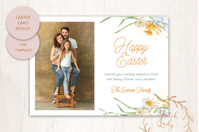 PSD Easter Photo Card Template #3